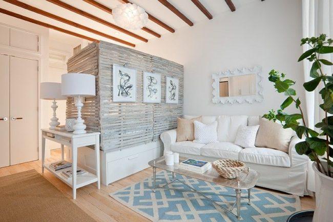 Дизайн-проект однокомнатной квартиры в стиле шебби-шик