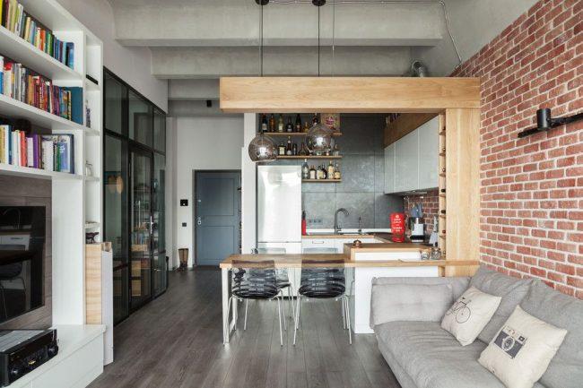 Удобный стильный вариант квартиры в стиле лофт