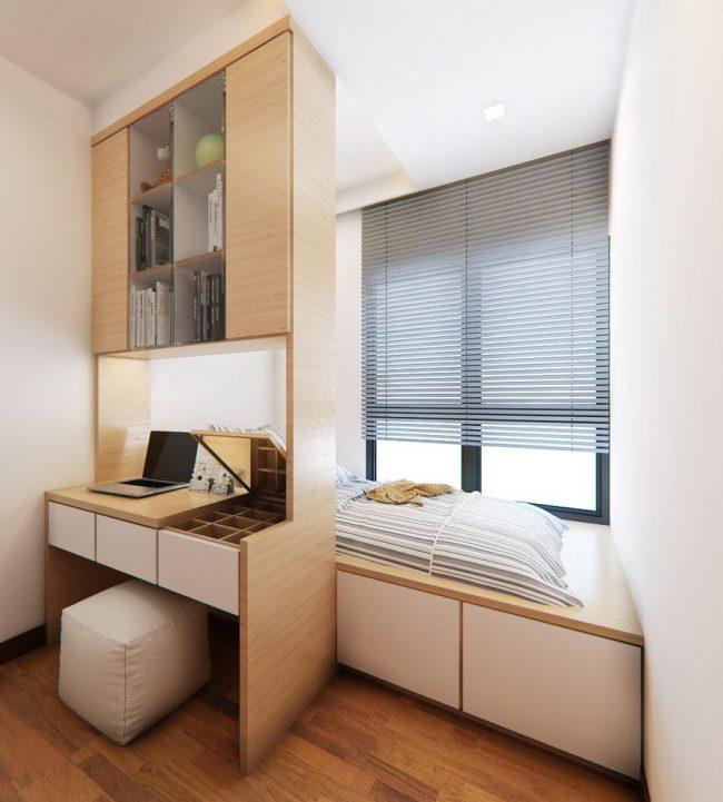 Идеальный вариант для малогабаритной квартиры со спальным местом на подиуме у окна
