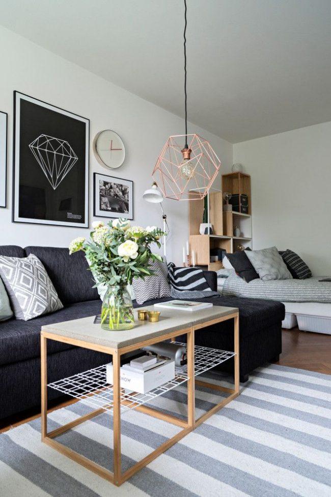 Скандинавский стиль хорошо смотрится в оформлении малогабаритных однокомнатных квартир