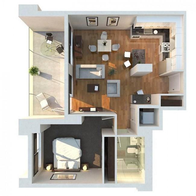 План однокомнатной квартиры с большим балконом