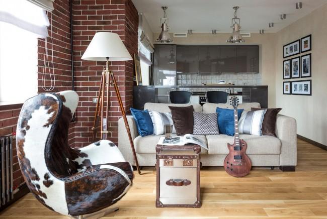 Лофт в дизайне квартиры-студии