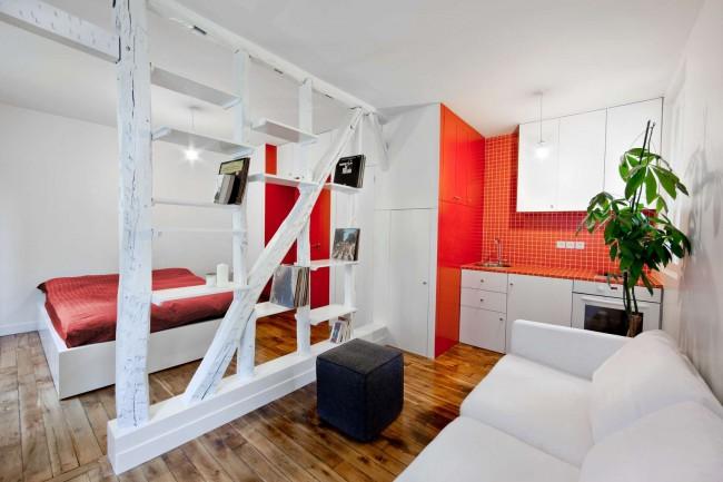Деревянные балки в интерьере небольшой однокомнатной квартиры