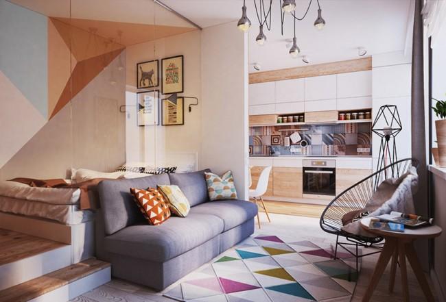 Геометрические мотивы в интерьере небольшой однокомнатной квартиры