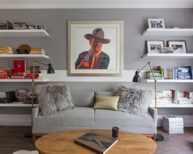 Серые тона в интерьере гостиной стиля поп-арт