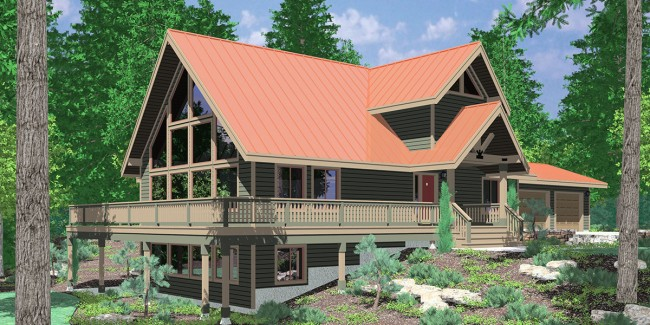 Проект дома на склоне. Жилая площадь 372.54 кв.м.