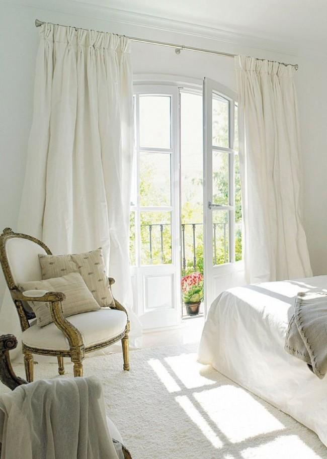 Дизайн штор для спальни из белой хлопковой ткани