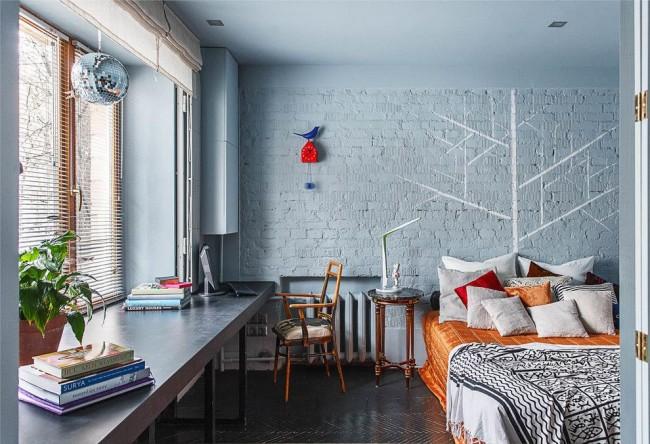Римские шторы в спальне стиля фьюжн
