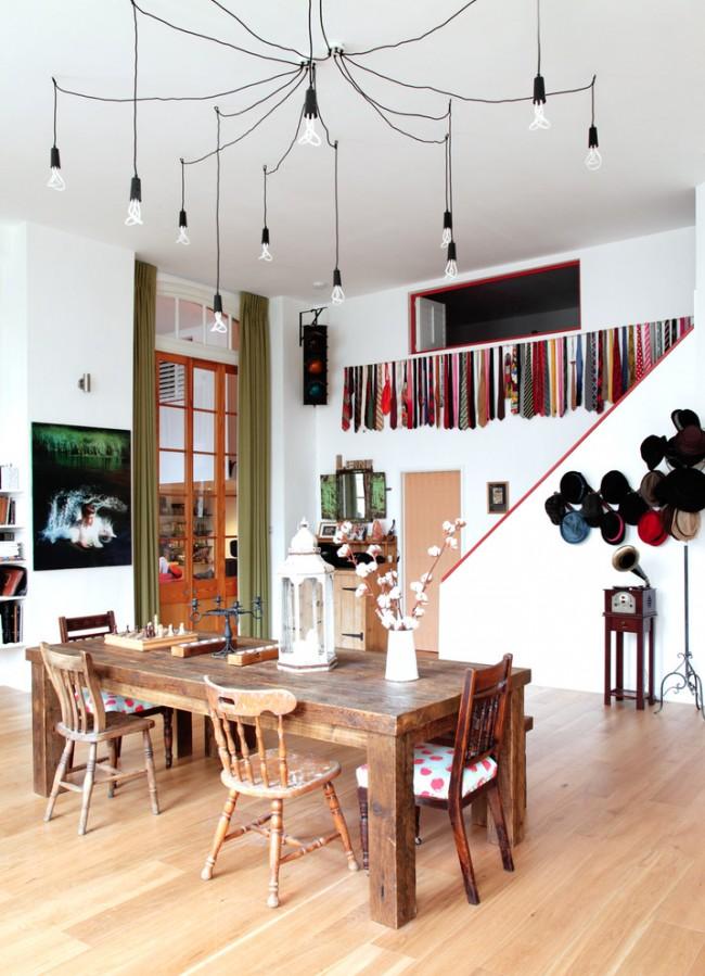 Лампы экономки декоративной формы в дизайне интерьера в стиле бохо