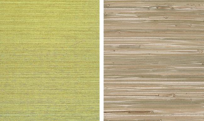 Популярные виды натуральных обоев: слева - сизалевые обои (волокна наклеены на бумагу), справа - плетеные из натуральных растительных волокон. Но на этом их ассортимент не заканчивается