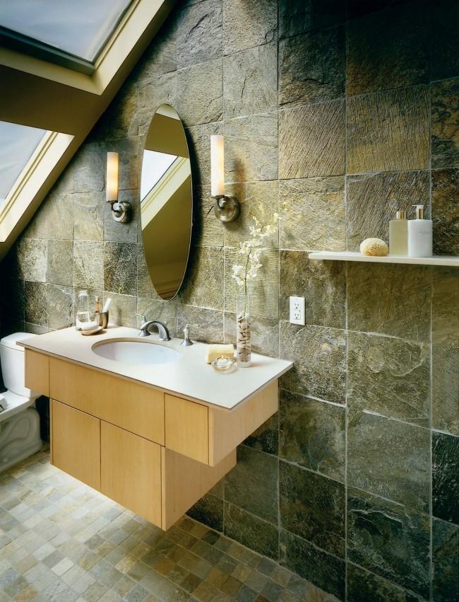 Отделка стен ванной плитками ржавого сланца