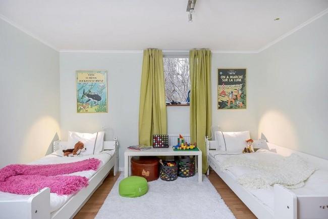 Детская комната для брата и сестры без цветового разграничения