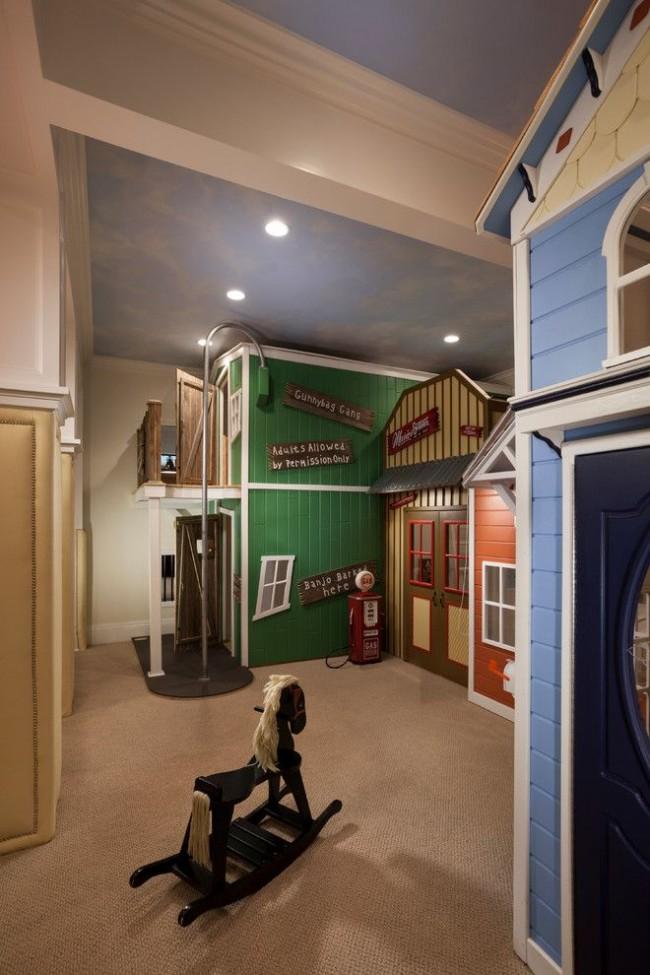 Интересная идея для зонирования детской комнаты, напоминающая настоящий уголок города с голубым небом, жилыми домами, уличными фонарями и т.д.