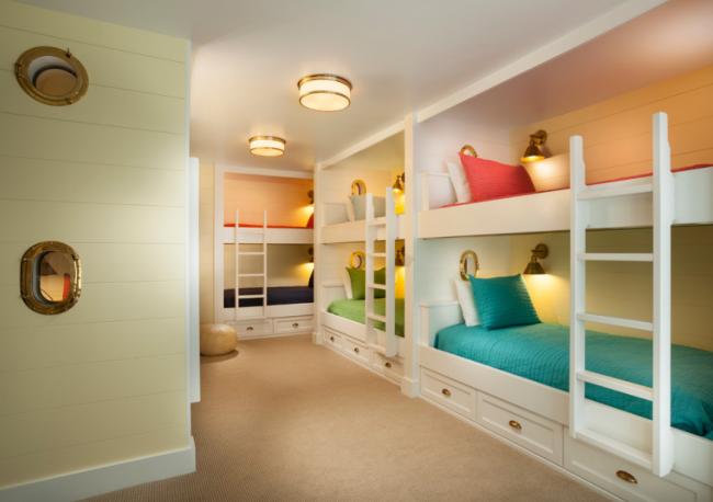 Пример цветового разделения двухъярусных кроватей
