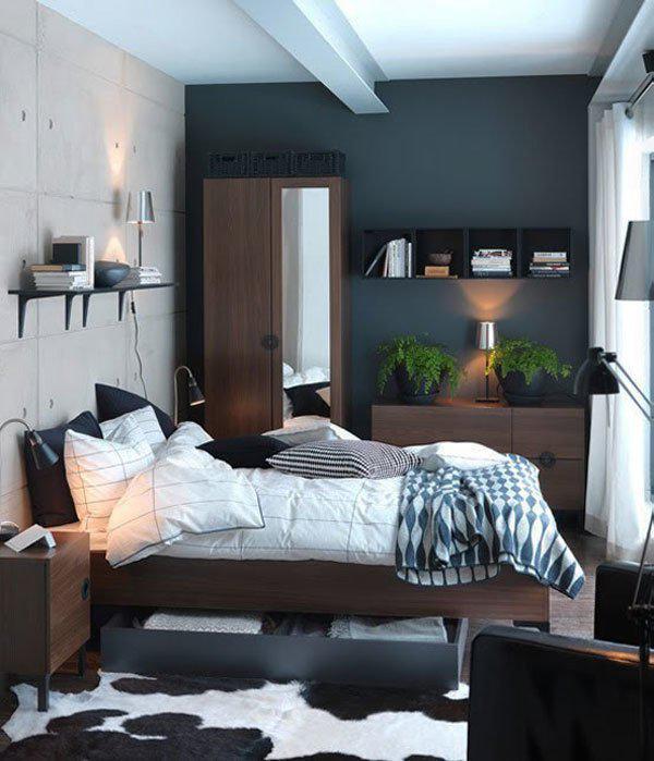 При наличии хорошего естественного освещения и системы искусственного света, а также белоснежной отделке части поверхности одну или несколько стен можно оформить в темных тонах