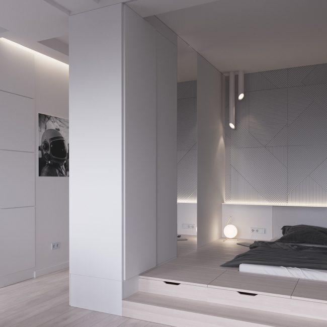 Кровать на подиуме со встроенной системой хранения и удобное точечное освещение