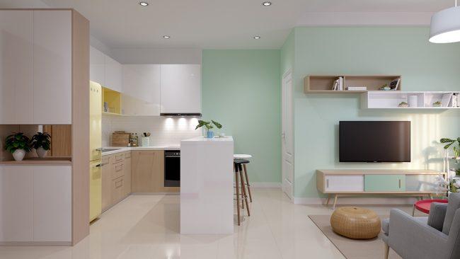 """В этом проекте оформления квартиры в свежих зеленых тонах, на месте перегородки, """"съедавшей"""" гораздо больше пространства, чем кажется, - предусмотрена барная стойка или столик для завтраков на двоихэтой квартире, оформленной в свежих зеленых тонах, на месте перегородки, """"съедавшей"""" гораздо больше пространства, чем кажется, предусмотрена барная стойка или столик для завтраков на двоих"""