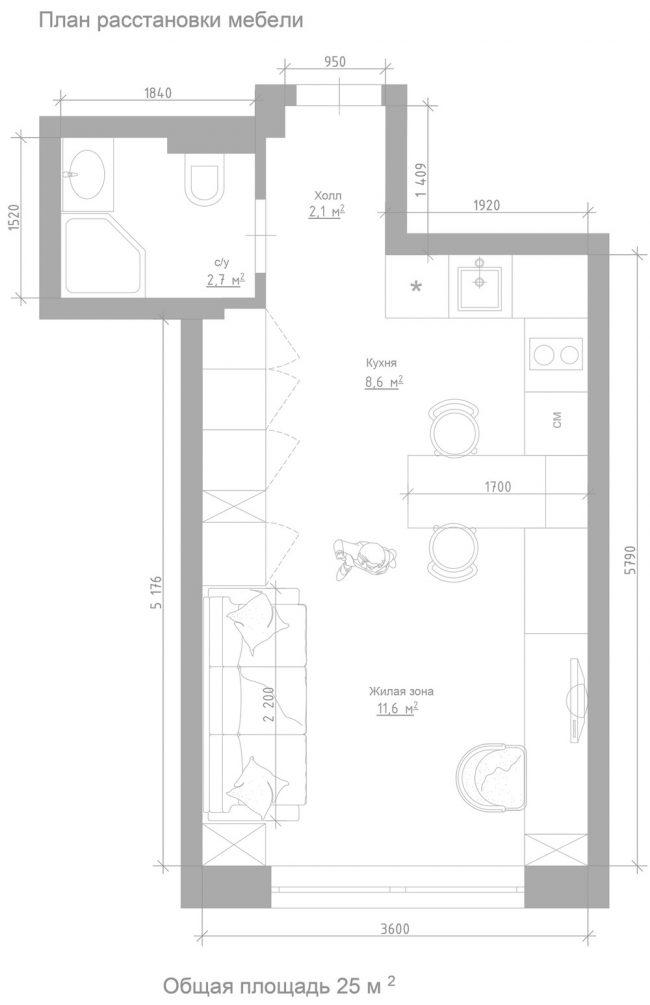 """План расстановки мебели (3D-вид – см. выше) в """"малосемейной"""" квартире площадью 25 кв. м с двумя независимыми водопроводными стояками для санузла и кухни"""