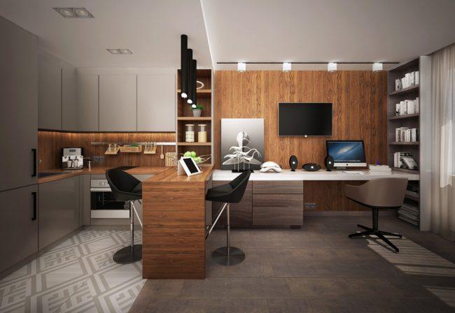 Мультифункциональная меблировка: столешница, которая может выполнять функцию как кухонного острова и обеденного стола на двоих, так и дополнительного рабочего пространства в домашнем офисе