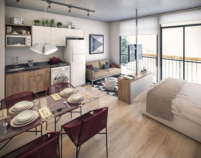 Компактное стильное жилье с акцентами винного цвета - студия с панорамными окнами и французским балконом