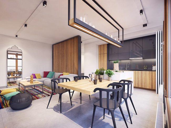 Использование насыщенных цветов для четкого зонирования зрительно делает эти варшавские апартаменты больше, чем они есть на самом деле. Дизайн - Plaste[r]lina, Лодзь, Польша