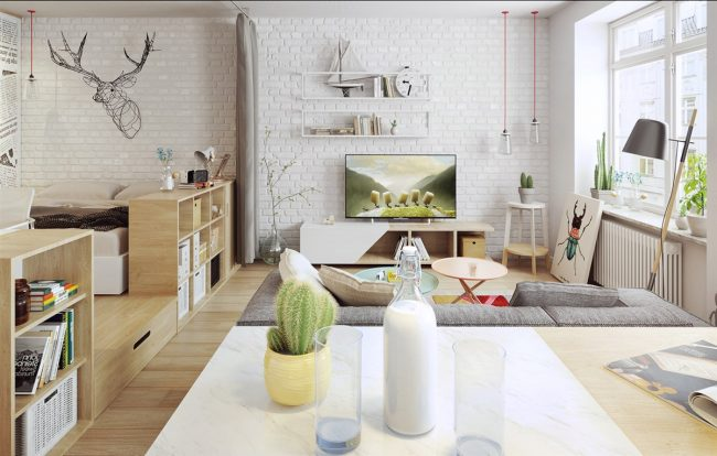 Скандинавский дизайн - то, что даст максимальный простор для творчества и нестандартных решений, и сделает любую компактную студию позитивным и вдохновляющим жилым пространством