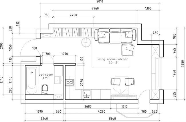 Общий план кухни-гостиной и санузла (см. выше на 3D- визуализации)