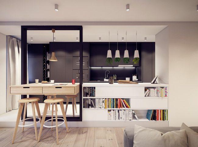 Мультифункциональная гостиная с кухней: проект современного компактного жилья от студии PLASTE[R]LINA (Польша)