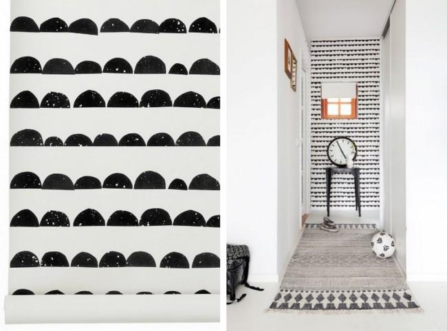 Оригинальный способ оформить стену в узком коридоре: с помощью самодельного штампа из резины или других подручных материалов
