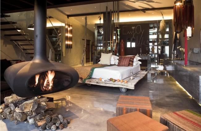 Современный интерьер квартиры - студии в стиле шале