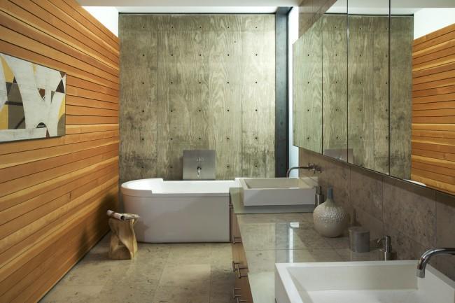 Ванная комната в стиле шале с отделкой характерных материалов и оттенков