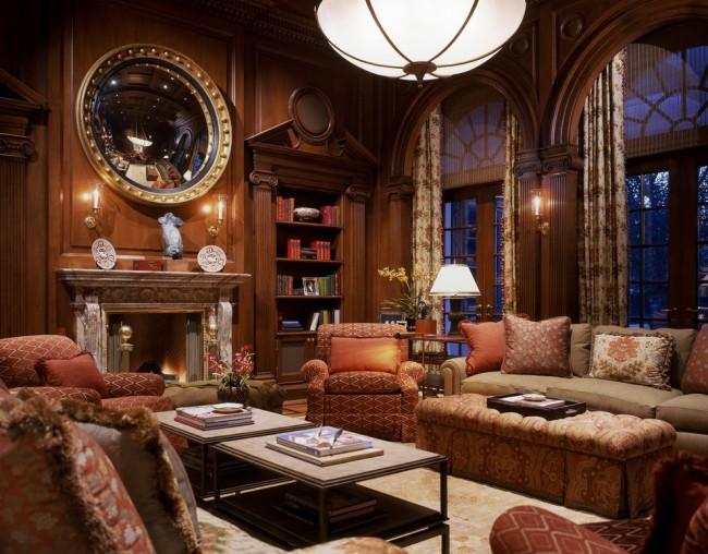 Kayu dalam hiasan ruang tamu gaya Yunani adalah keputusan yang sangat berani
