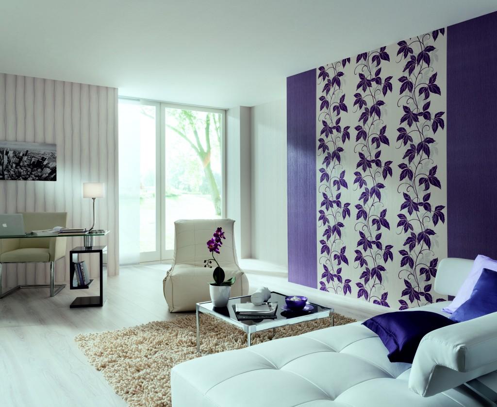 Вертикальное комбинирование обоев в гостиной фото идеи