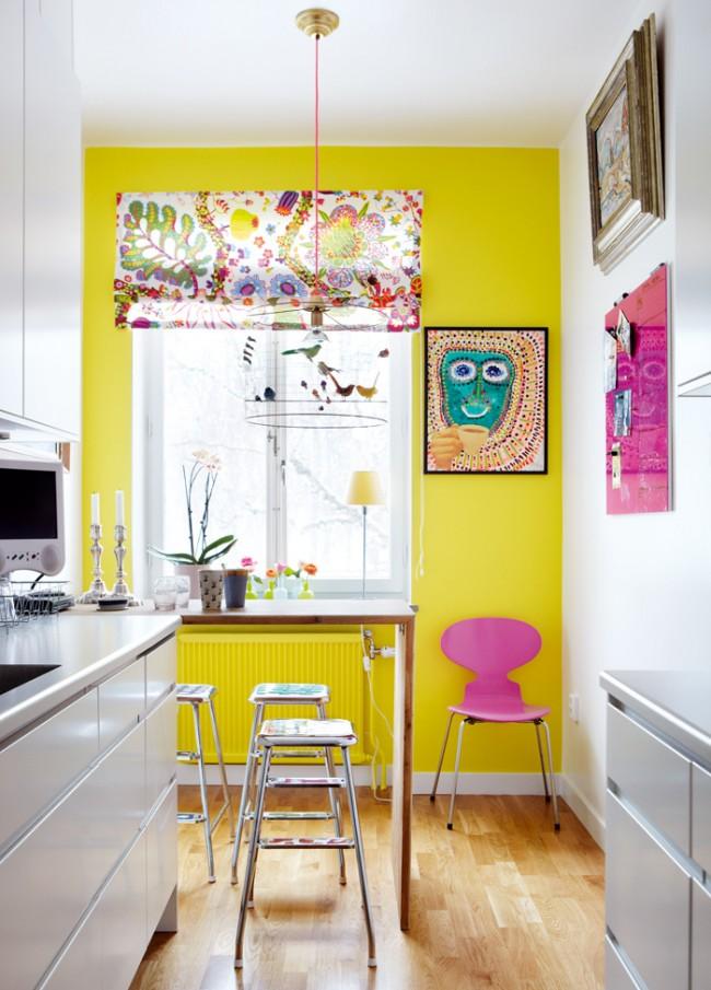 Ярко - окрашенная стена поднимет настроение и аппетит