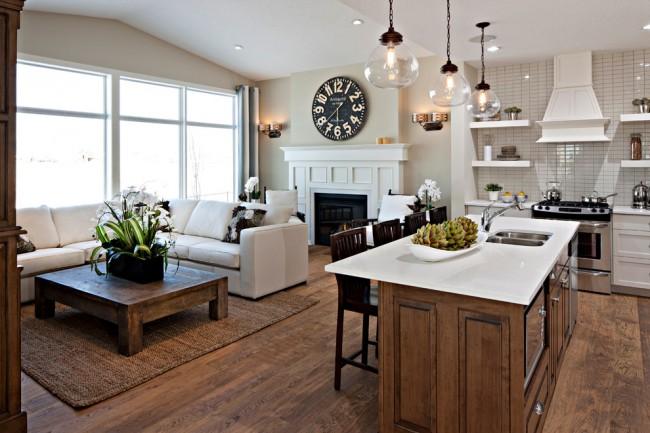 Слияние кухни с гостиной в небольшой квартире - студии