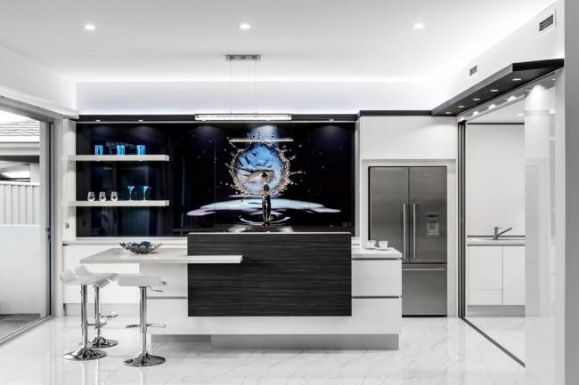 3D рисунок на рабочей стенке современной кухни