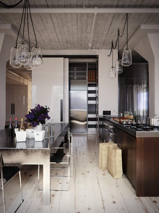 Венге станет центром внимания на светлой кухне, при этом интерьер будет выглядеть очень свежо и лаконично