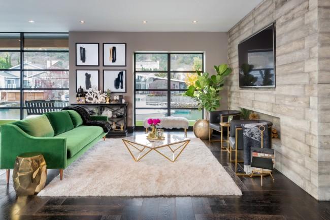 Традиционная расстановка мебели в неоклассической гостиной