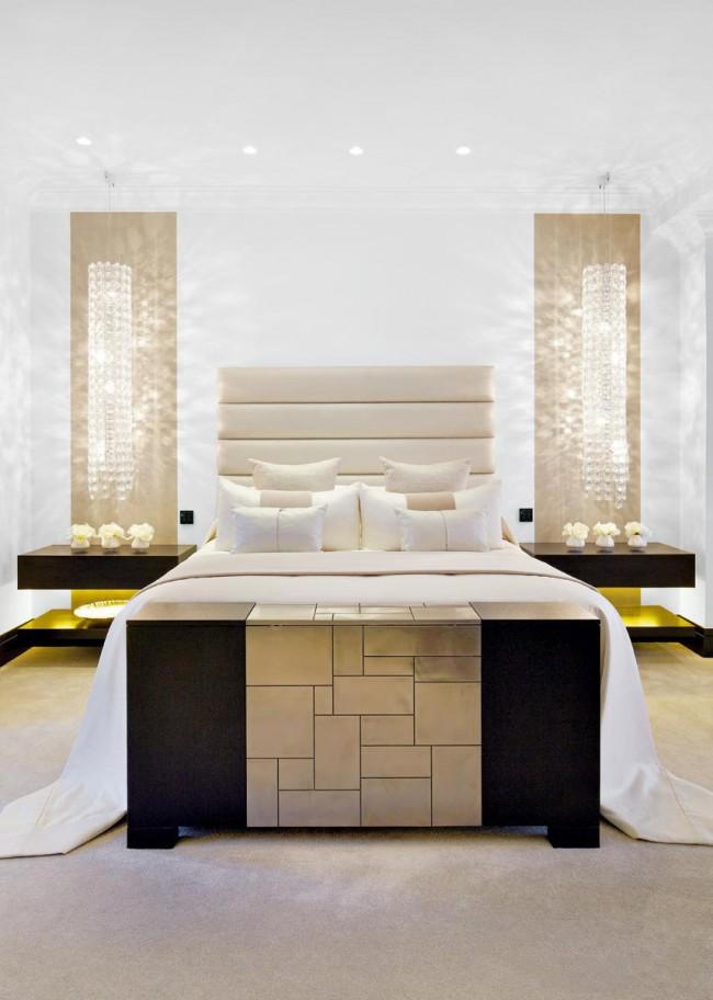 Контрастные цвета придает спальне ещё более утонченный оттенок роскоши