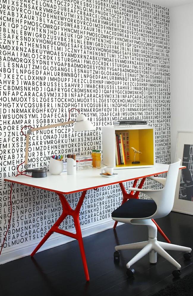 Проект современной меблировки комнаты подростка с компактным креслом на колесиках и ярким столом