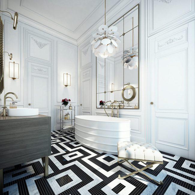 Ванная комната в стиле неоклассик с отделкой тонким потолочным багетом