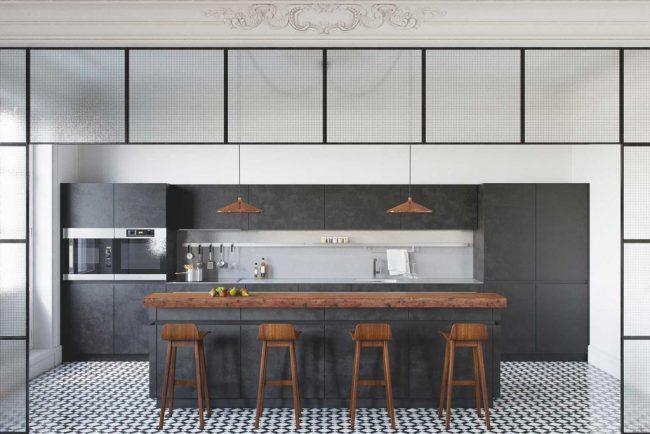 Удачное сочетание черно - белого с деревом в стильной кухне модерн