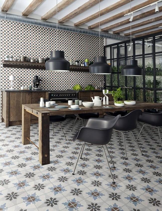 Плитка на пол на кухне с цветочным геометрическим узором