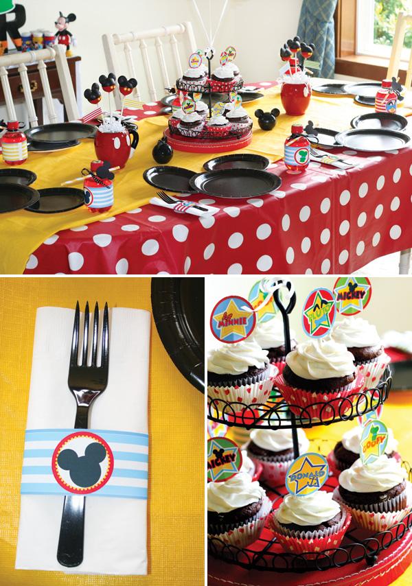 Кейк-топперы, леденцы, пирожные и конфеты с Микки Маусом, как на фото - веселый и яркий готовый декор для детского праздника