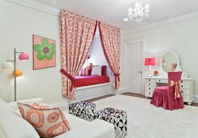 Оптимальная длина для штор детской комнаты в современном стиле