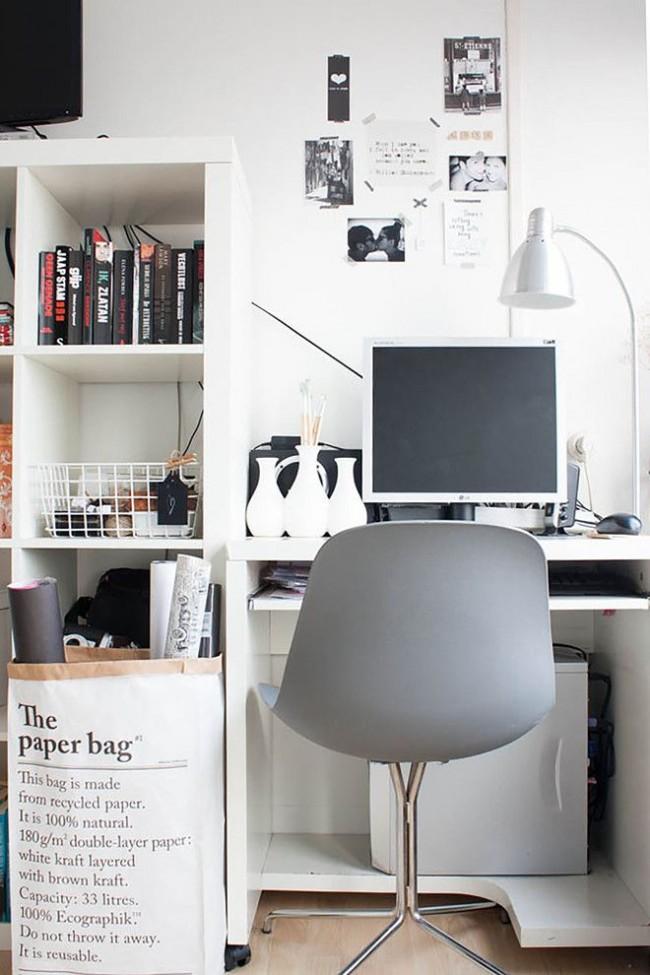 Светлая рабочая зона с мебелью в стиле минимализм