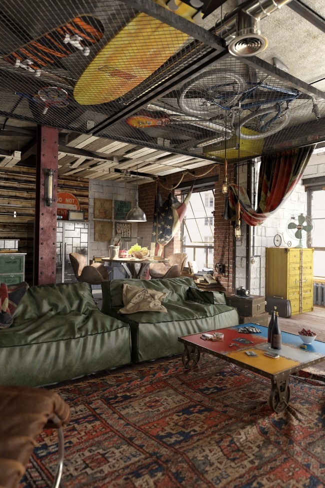 Забавная идея с хранением велосипедов, скейтов и бордов под потолком