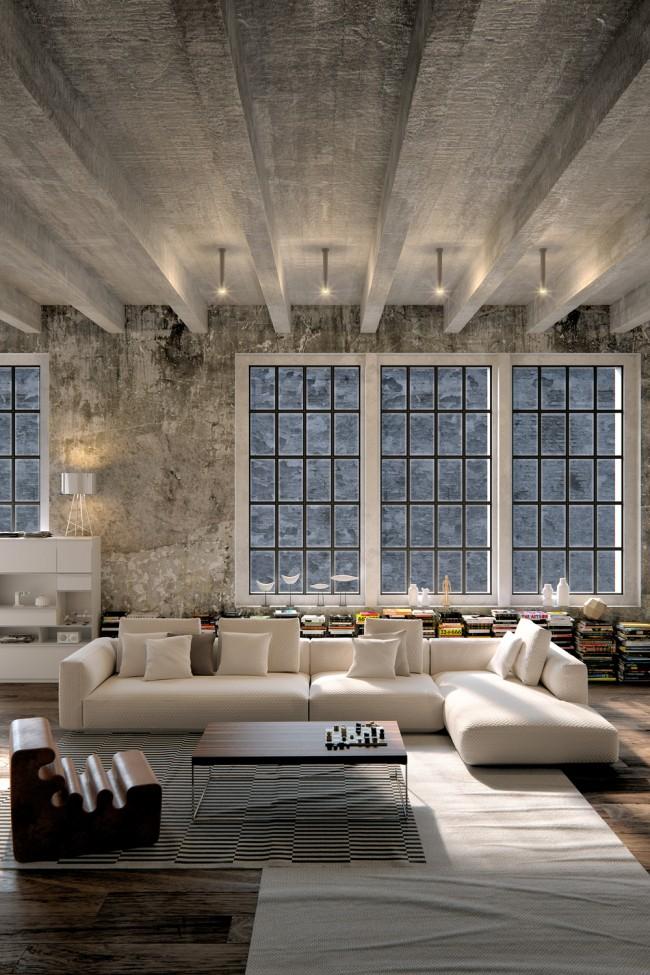 Диван Pianoalto от Zanotta в индустриальном интерьере с бетонным потолком и полом из темного дерева твердых пород