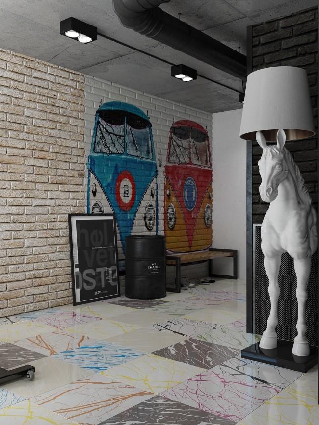 """Разнообразные арт-объекты, настенная роспись и другое - самые органичные спутники этого стиля. Для этой визуализации использована модель прославленной """"Horse Lamp"""" от Moooi"""