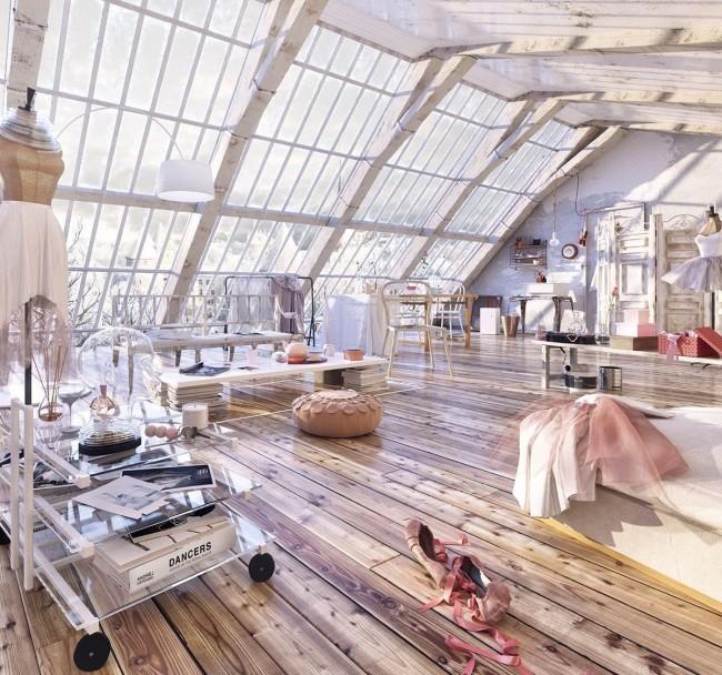 """Один из скатов крыши - полностью стеклянный, что делает помещение наполненным воздухом и светом. Этот проект был создан для ежегодного конкурса """"Whole Lotta Loft!"""", который проходит на ресурсе Evermotion для графических дизайнеров, архитекторов и других"""